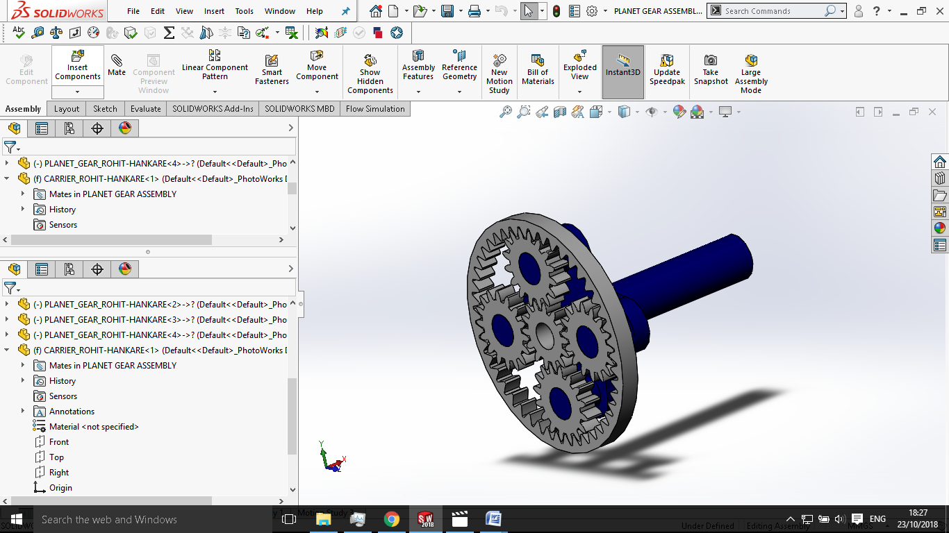 Motion analysis on the planetary gear Assembly with a
