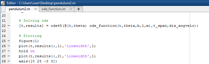 Solving second order ode for simple pendulum using Matlab